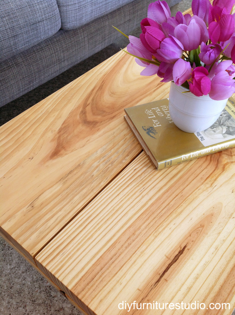 flowers and book on DIY rustic modern coffee table or bench with plumbing pipe legs