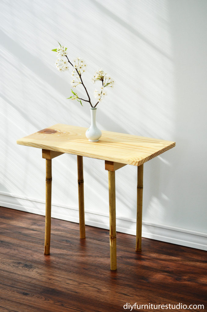 DIY pine board and bamboo leg side table.