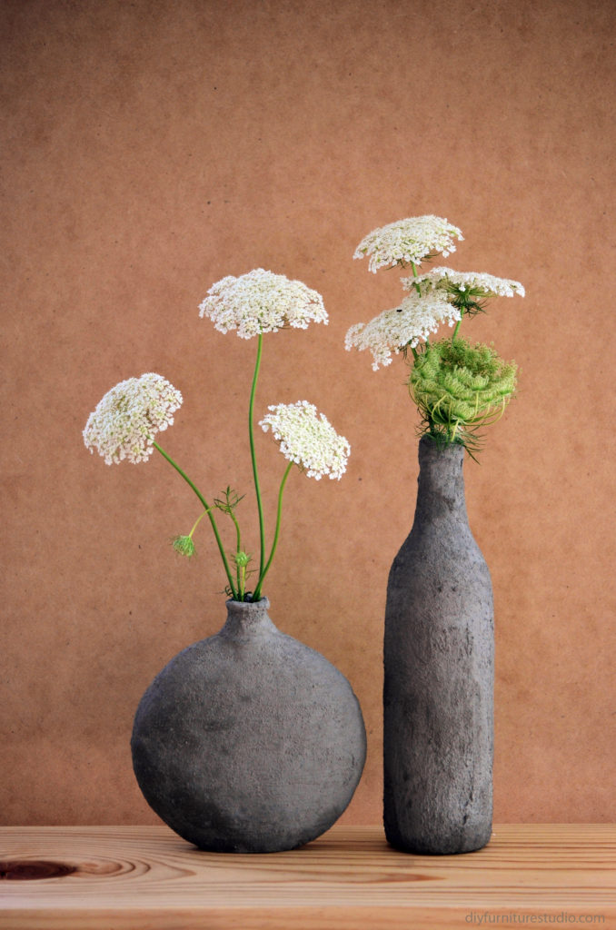 DIY cement coverend vase from hobby lobby and empty wine bottle