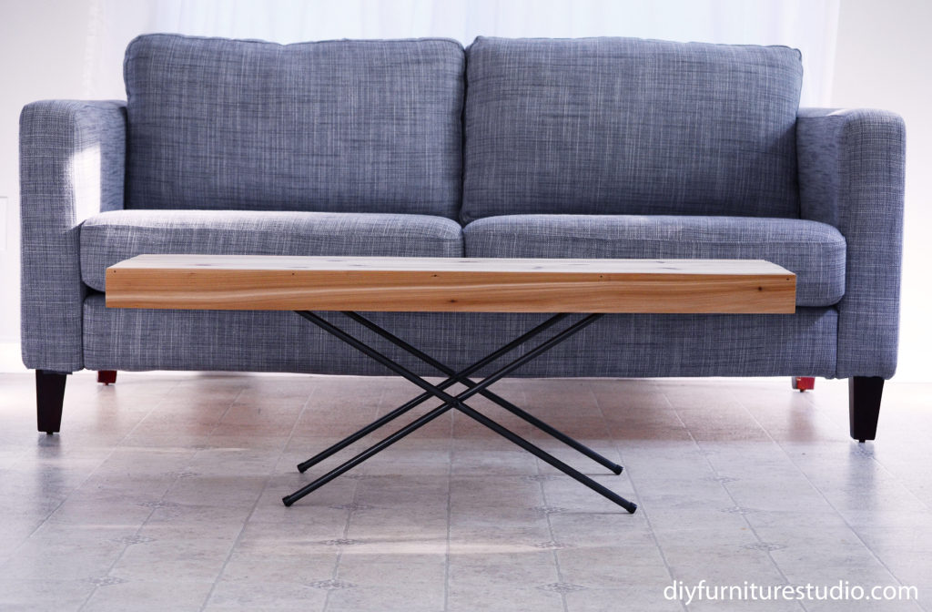 Upcycle your TV tray! DIY folding coffee table with x-base legs.