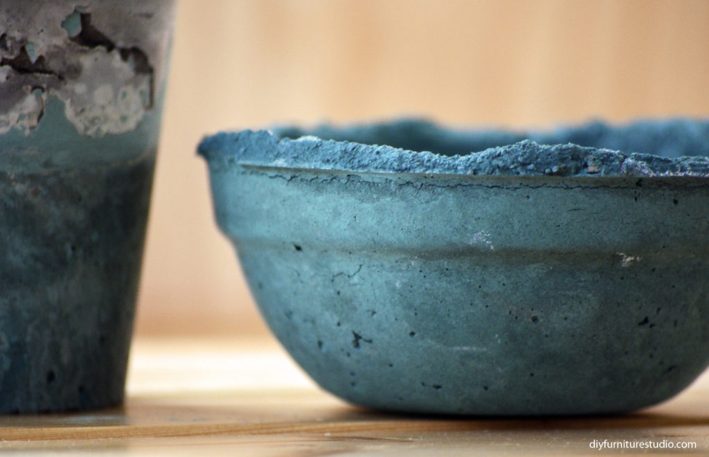 DIY cement succulent bowl tinted with Behr-The Real Teal-color latex paint