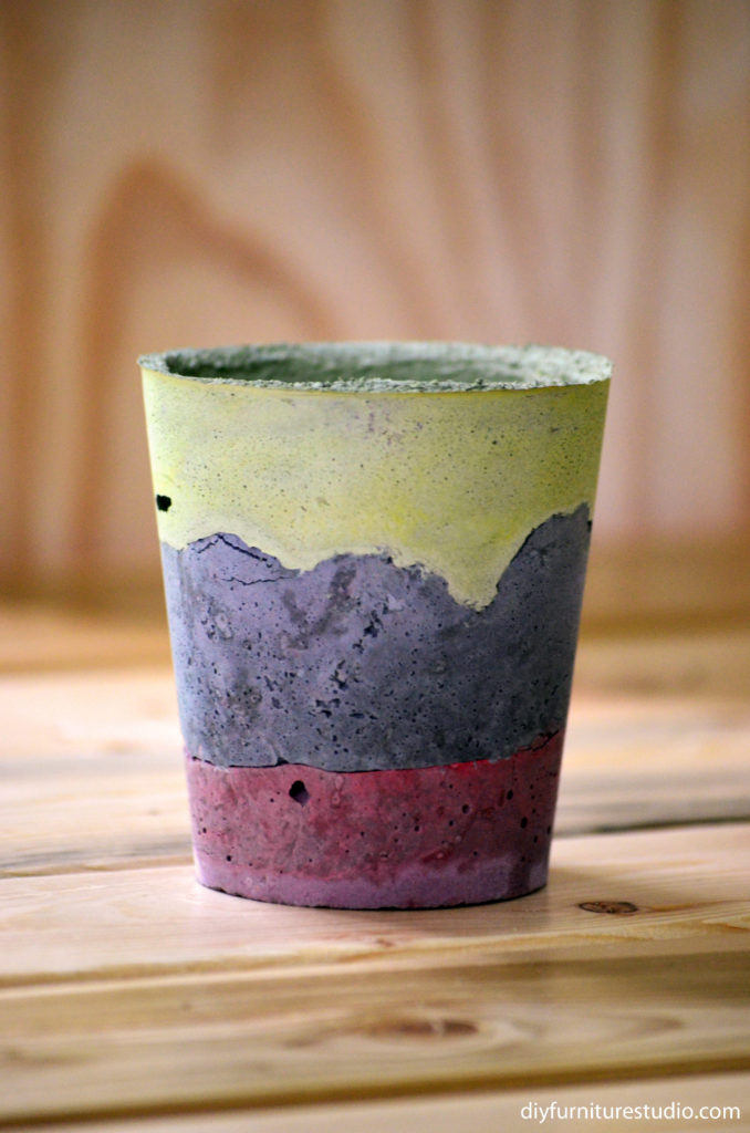 Learn how to make paint-tinted DIY cement succulent planters, pots, bowls, dishes, vases at diyfurniturestudio.com