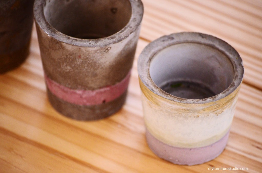 cement planter made with two cup molds, tinted with latex paint