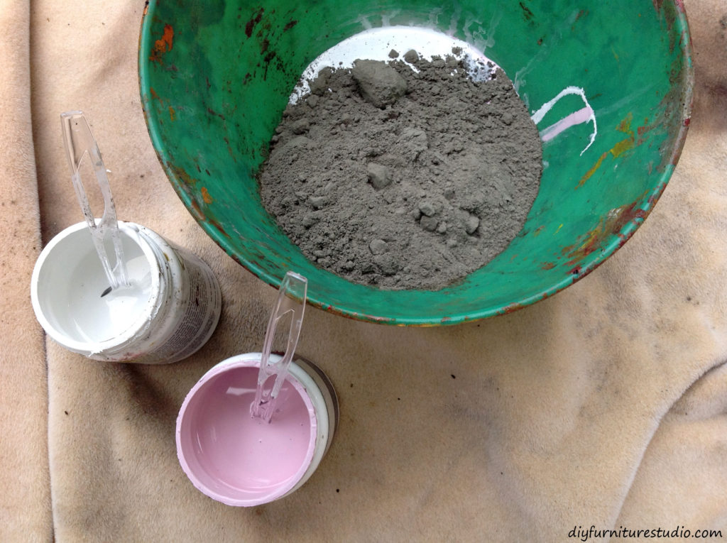 Learn how to make cement colored with latex paint for DIY furniture and decor.