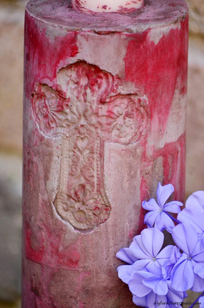 DIY cement candle holder. To Uriel: Vuela alto con los ángeles.