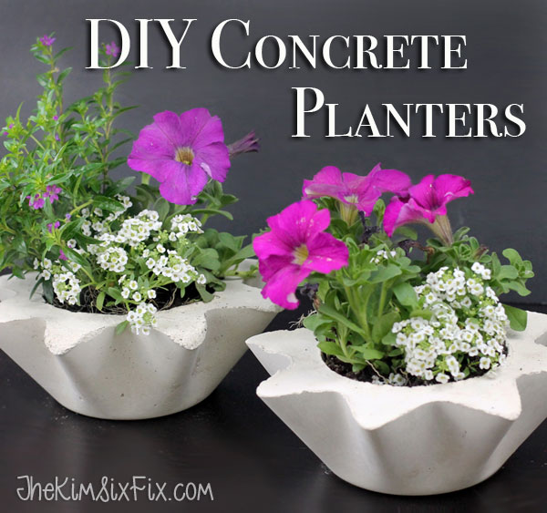 DIY concrete and cement gift ideas. Scalloped DIY concrete planters. The Kim Six Fix.