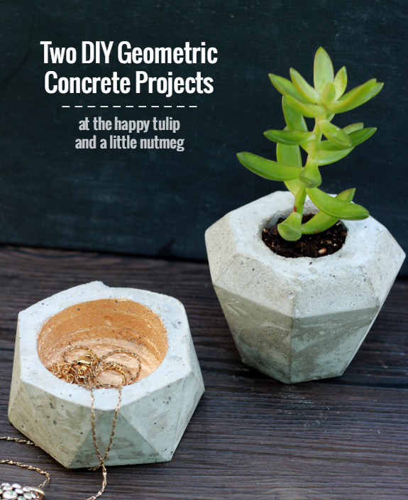 Stunning DIY concrete and cement gift ideas. Two diy geometric concrete projects. Tutorials. The Happy Tulip.