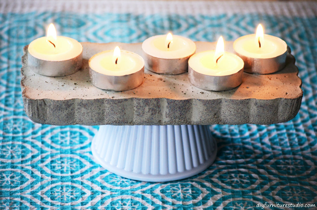 DIY concrete centerpiece or cake stand with changeable base.