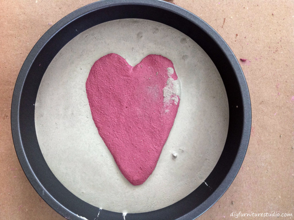 DIY Cement Stepping Stones with Embedded Colored Cement Designs. Forming the Colored Shape and Adding Fill Cement.