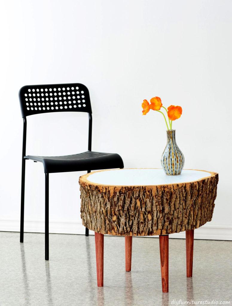 Make a Live Edge Stump Coffee Table.
